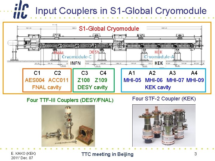 Input Couplers in S 1 -Global Cryomodule C 1 C 2 AES 004 ACC