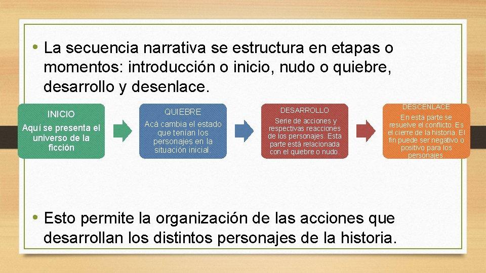 • La secuencia narrativa se estructura en etapas o momentos: introducción o inicio,