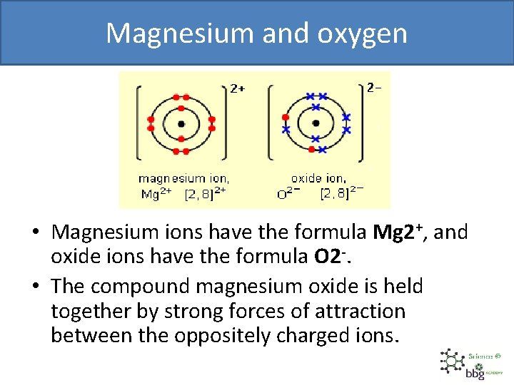 Magnesium and oxygen • Magnesium ions have the formula Mg 2+, and oxide ions