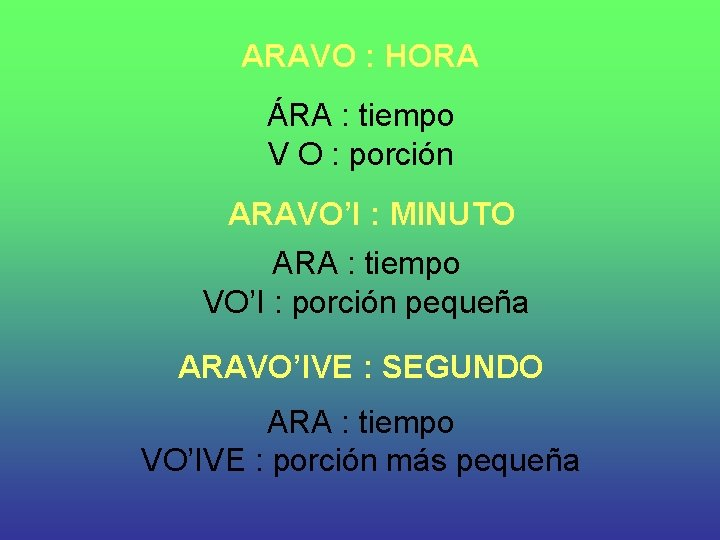 ARAVO : HORA ÁRA : tiempo V O : porción ARAVO'I : MINUTO ARA