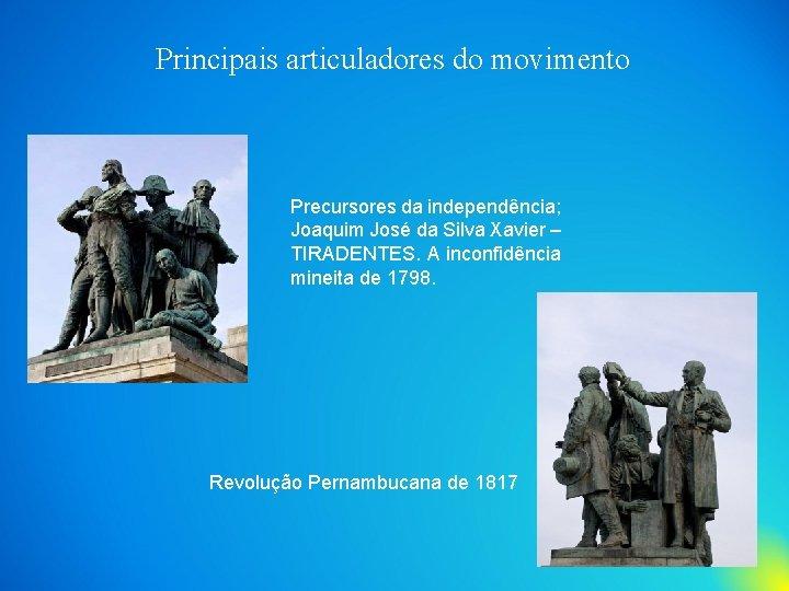 Principais articuladores do movimento Precursores da independência; Joaquim José da Silva Xavier – TIRADENTES.