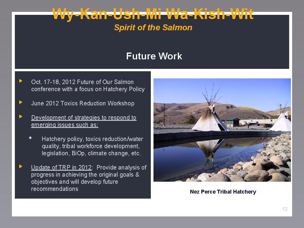 Wy-Kan-Ush-Mi Wa-Kish-Wit Spirit of the Salmon Future Work Oct. 17 -18, 2012 Future of