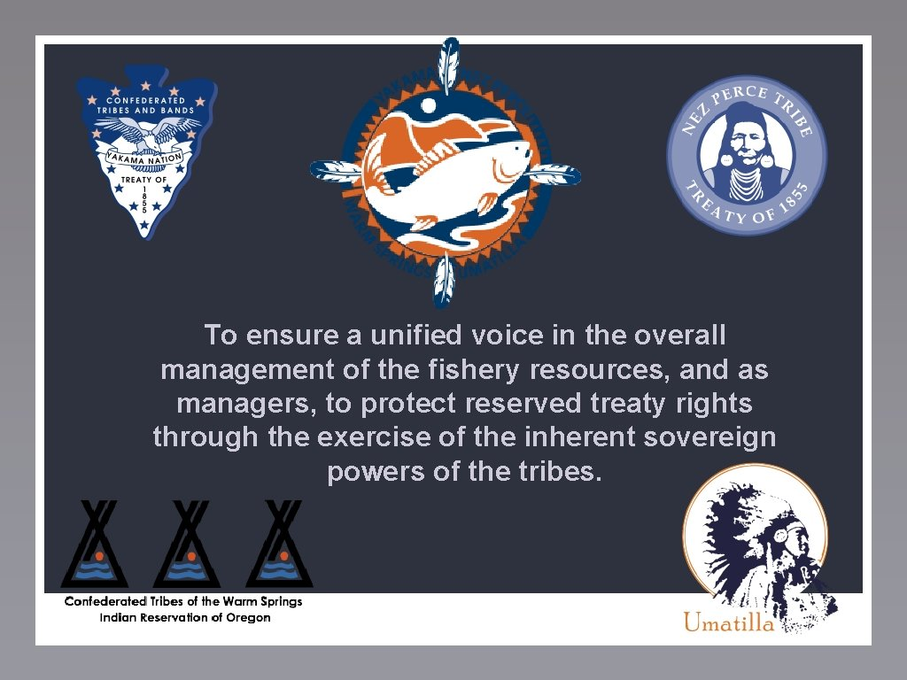 To ensure a unified voice in the overall management of the fishery resources, and