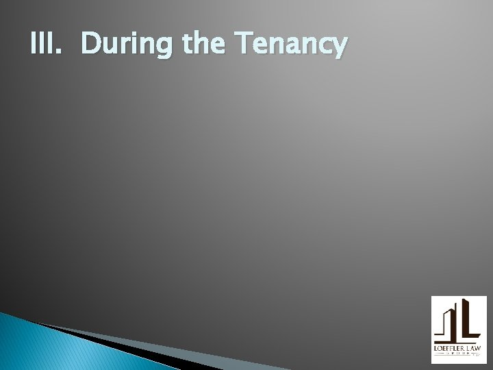 III. During the Tenancy