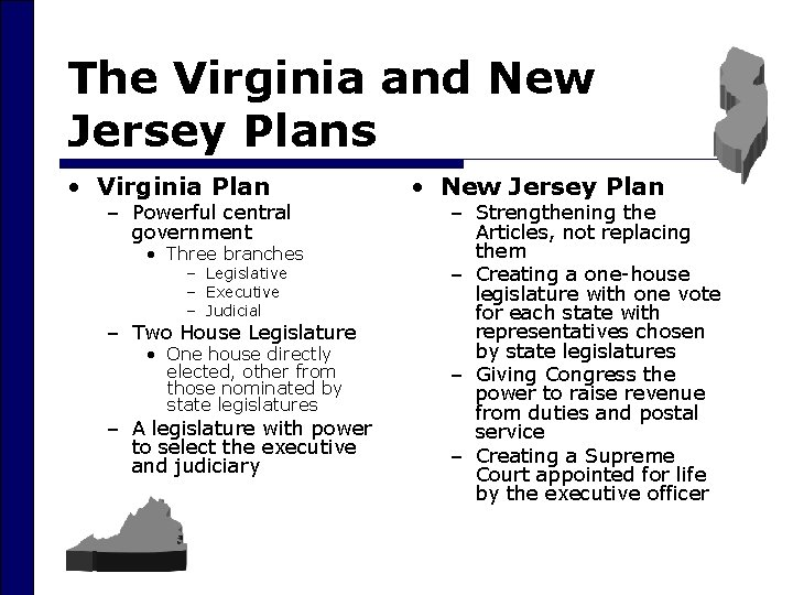 The Virginia and New Jersey Plans • Virginia Plan – Powerful central government •