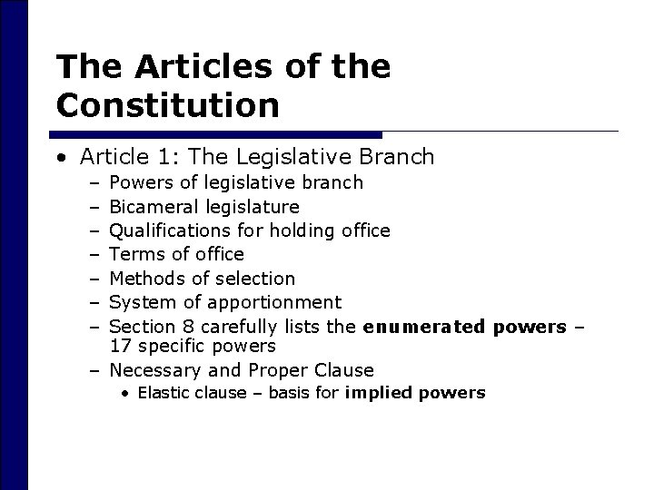 The Articles of the Constitution • Article 1: The Legislative Branch – – –