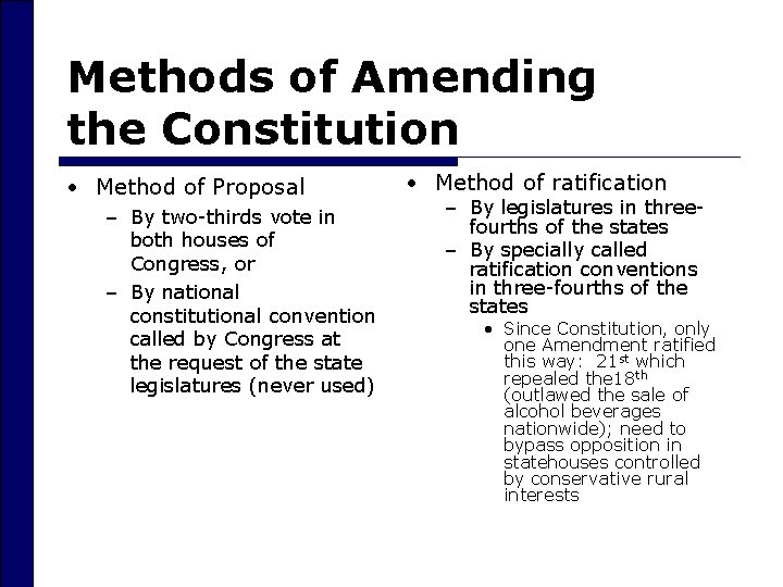 Methods of Amending the Constitution • Method of Proposal – By two-thirds vote in