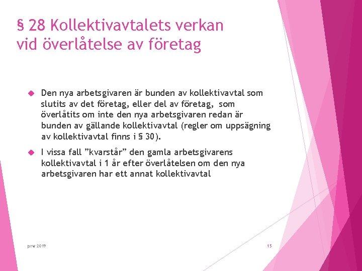 § 28 Kollektivavtalets verkan vid överlåtelse av företag Den nya arbetsgivaren är bunden av