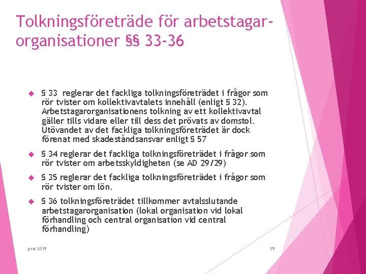 Tolkningsföreträde för arbetstagarorganisationer §§ 33 -36 § 33 reglerar det fackliga tolkningsföreträdet i frågor