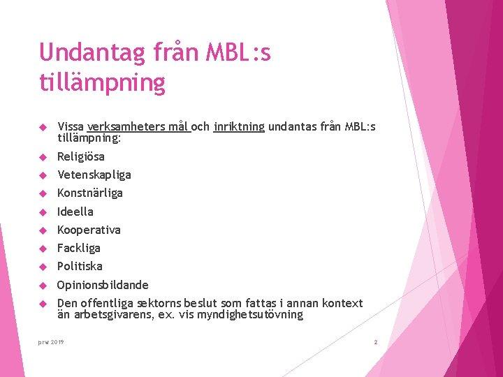 Undantag från MBL: s tillämpning Vissa verksamheters mål och inriktning undantas från MBL: s