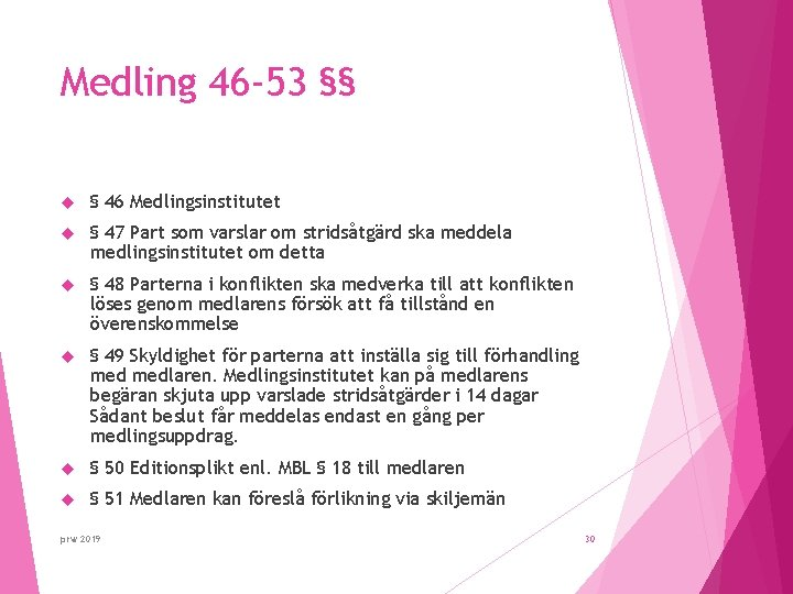 Medling 46 -53 §§ § 46 Medlingsinstitutet § 47 Part som varslar om stridsåtgärd