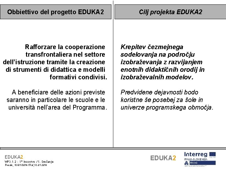 Obbiettivo del progetto EDUKA 2 Rafforzare la cooperazione transfrontaliera nel settore dell'istruzione tramite la
