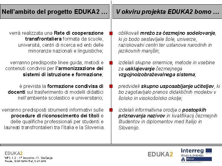 Nell'ambito del progetto EDUKA 2 … verrà realizzata una Rete di cooperazione transfrontaliera formata