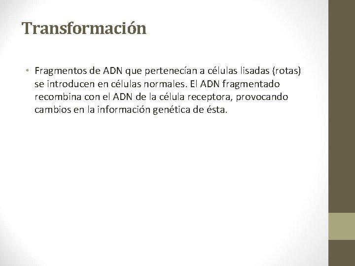 Transformación • Fragmentos de ADN que pertenecían a células lisadas (rotas) se introducen en