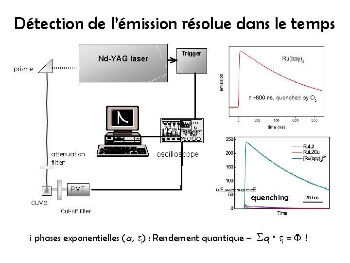 Détection de l'émission résolue dans le temps Nd-YAG laser Trigger prisme attenuation filter oscilloscope