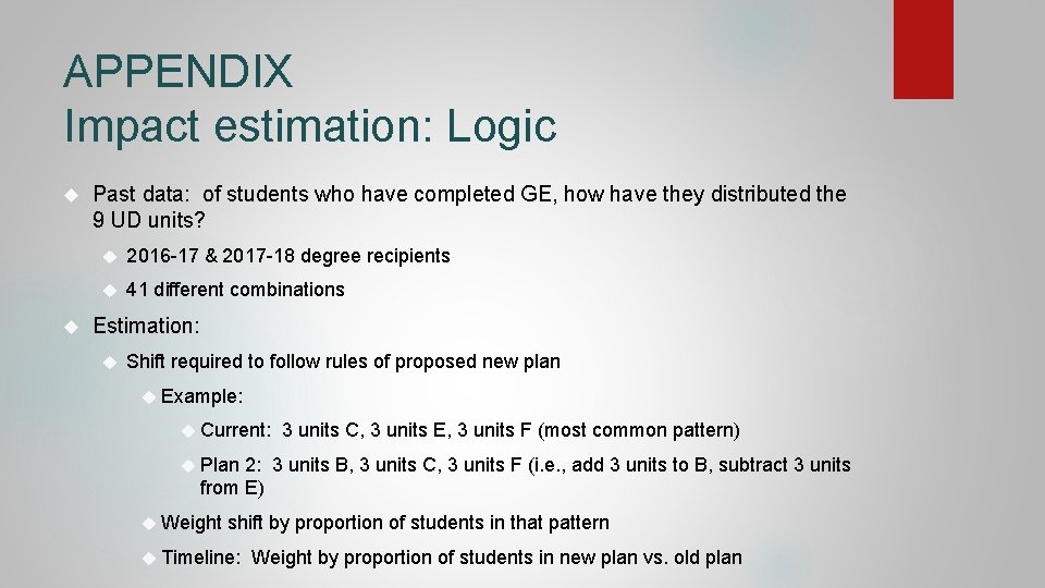 APPENDIX Impact estimation: Logic Past data: of students who have completed GE, how have
