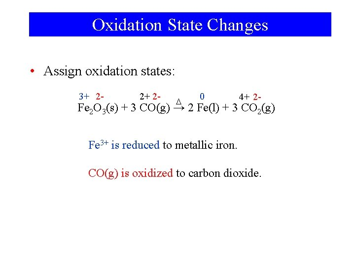 Oxidation State Changes • Assign oxidation states: 3+ 2 - 2+ 2 - D