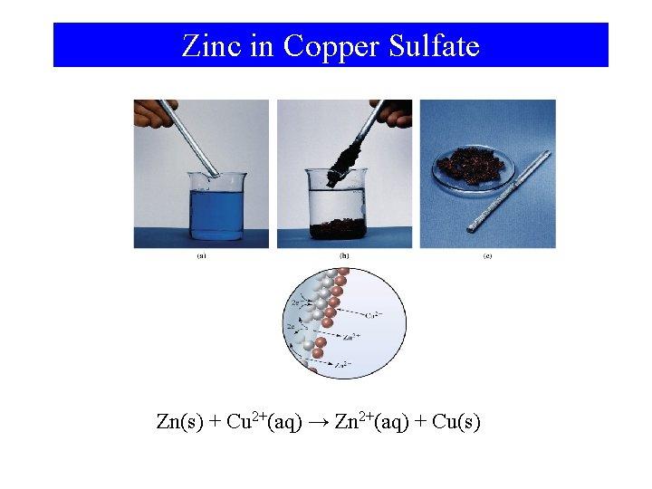 Zinc in Copper Sulfate Zn(s) + Cu 2+(aq) → Zn 2+(aq) + Cu(s)