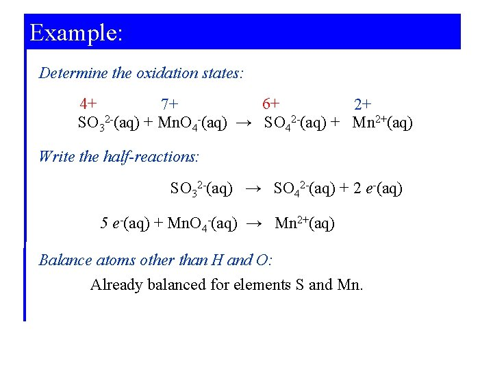 Example: Determine the oxidation states: 4+ 6+ 7+ 2+ SO 32 -(aq) + Mn.