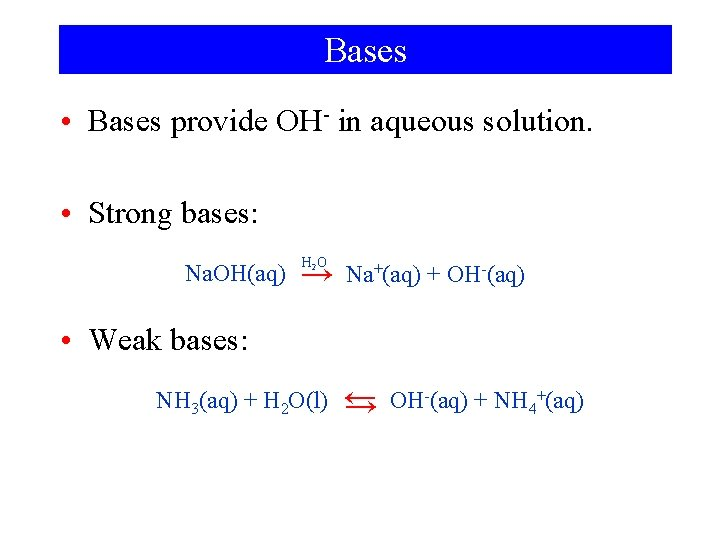 Bases • Bases provide OH- in aqueous solution. • Strong bases: Na. OH(aq) H