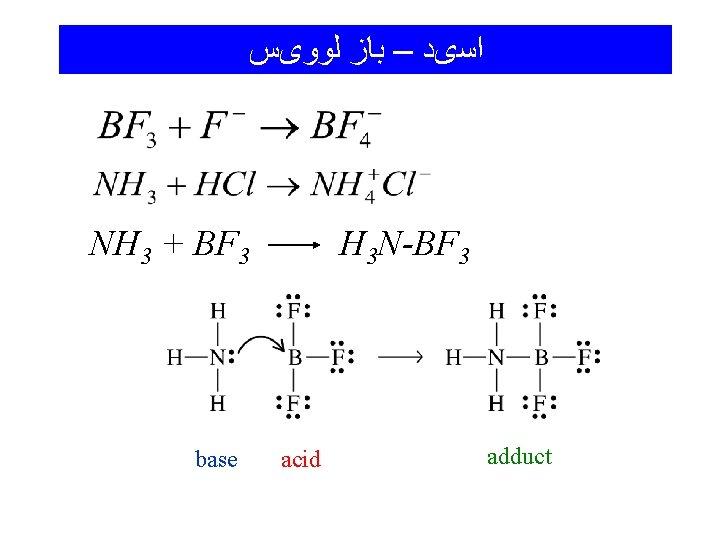 ﺍﺳیﺪ – ﺑﺎﺯ ﻟﻮﻭیﺲ NH 3 + BF 3 base H 3 N-BF