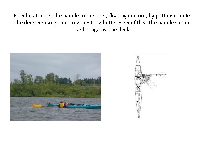 Now he attaches the paddle to the boat, floating end out, by putting it