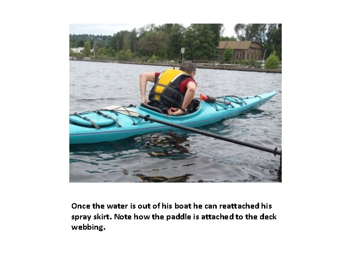 Once the water is out of his boat he can reattached his spray skirt.