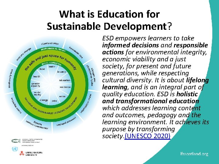 What is Education for Sustainable Development? ESD empowers learners to take informed decisions and