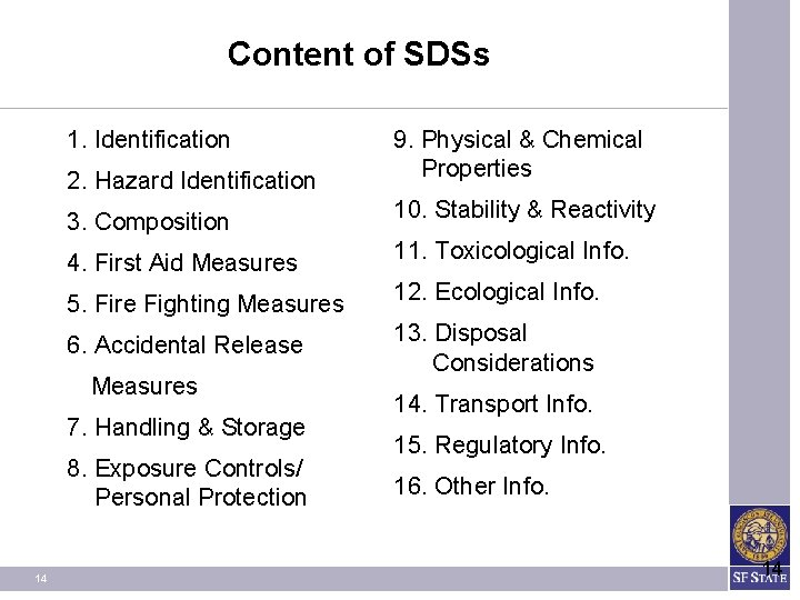 Content of SDSs 1. Identification 2. Hazard Identification 9. Physical & Chemical Properties 3.