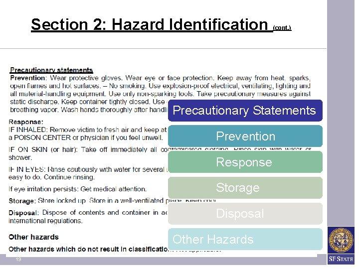 Section 2: Hazard Identification (cont. ) Precautionary Statements Prevention Response Storage Disposal Other Hazards