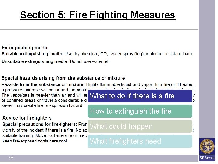 Section 5: Fire Fighting Measures What to do if there is a fire How