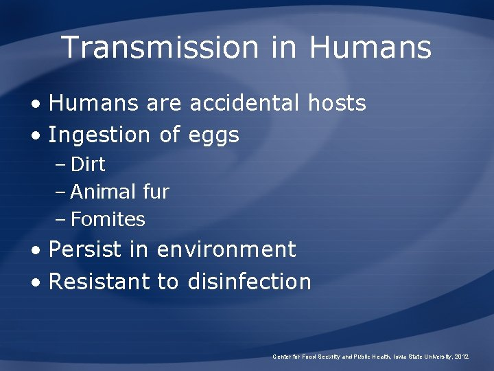 Transmission in Humans • Humans are accidental hosts • Ingestion of eggs – Dirt