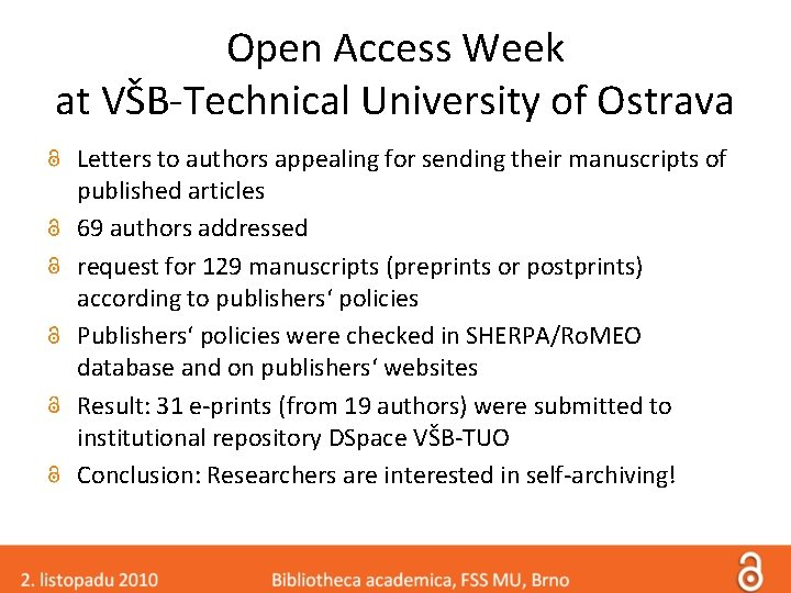 Open Access Week at VŠB-Technical University of Ostrava Letters to authors appealing for sending