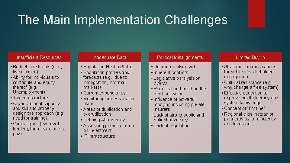 The Main Implementation Challenges Insufficient Resources • Budget constraints (e. g. , fiscal space)