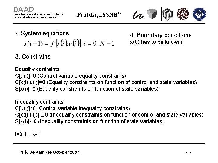 """DAAD Deutscher Akademischer Austausch Dienst German Academic Exchange Service Projekt """"ISSNB"""" 2. System equations"""