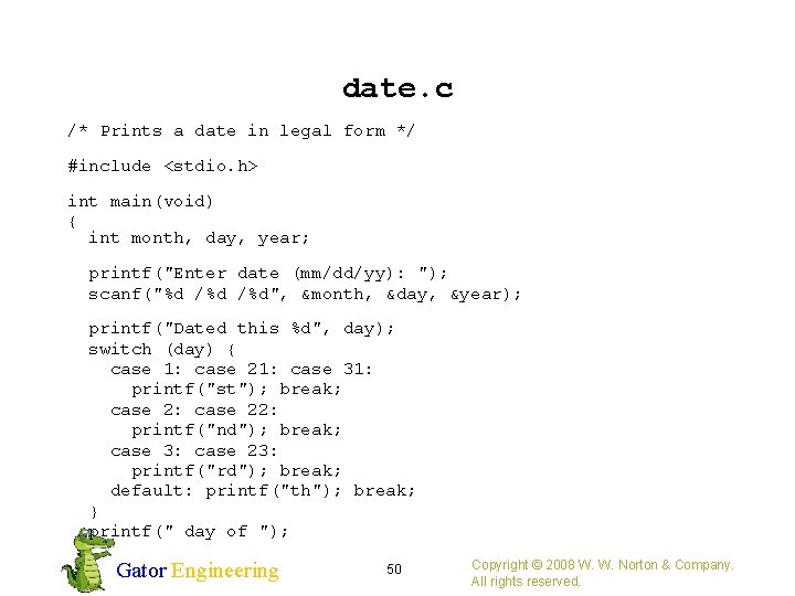 date. c /* Prints a date in legal form */ #include <stdio. h> int