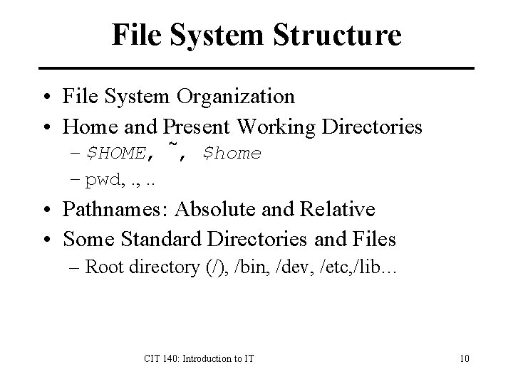 File System Structure • File System Organization • Home and Present Working Directories –