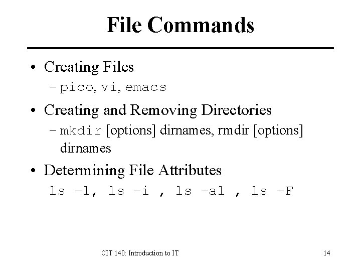 File Commands • Creating Files – pico, vi, emacs • Creating and Removing Directories