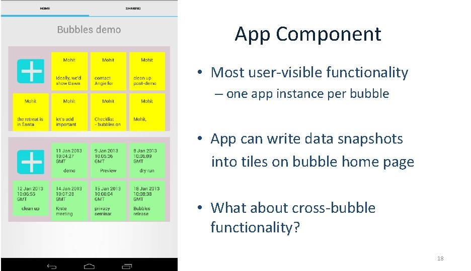 App Component • Most user-visible functionality – one app instance per bubble • App