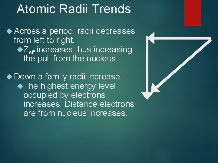 Atomic Radii Trends Across a period, radii decreases from left to right. Zeff increases