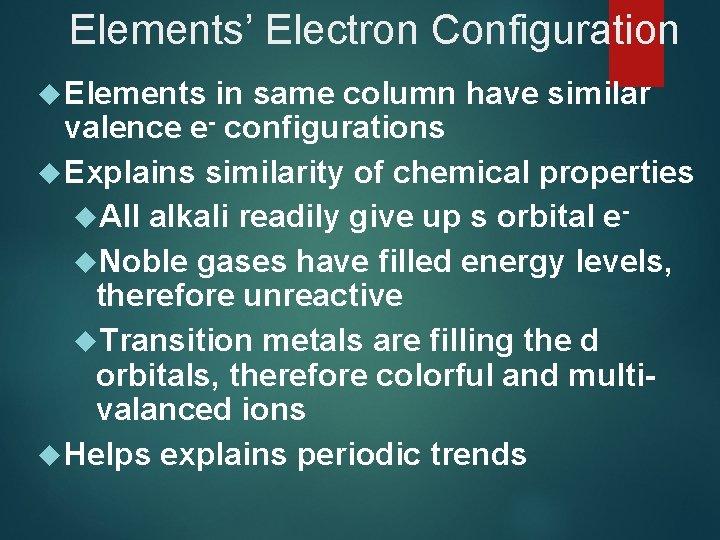Elements' Electron Configuration Elements in same column have similar valence e- configurations Explains similarity