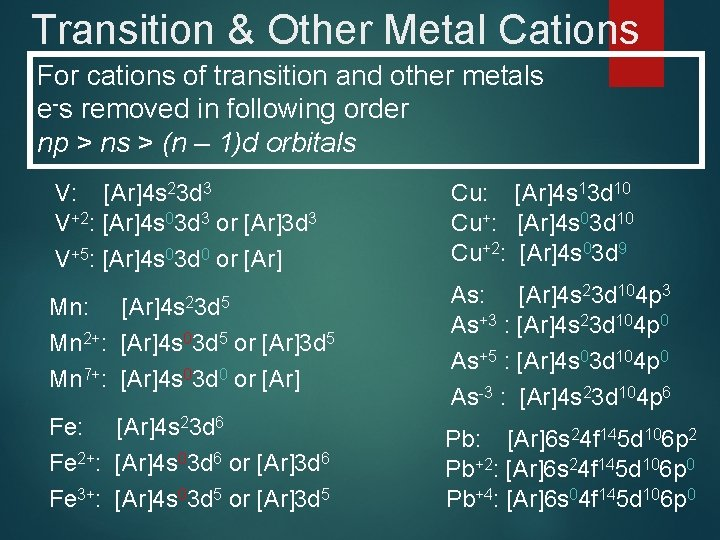 Transition & Other Metal Cations For cations of transition and other metals e-s removed