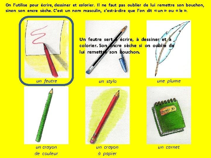 On l'utilise pour écrire, dessiner et colorier. Il ne faut pas oublier de lui