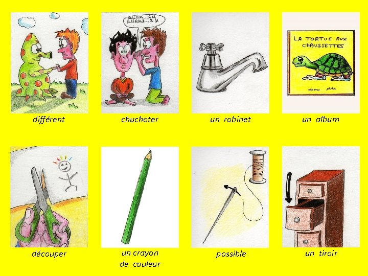 différent chuchoter un robinet un album découper un crayon de couleur possible un tiroir