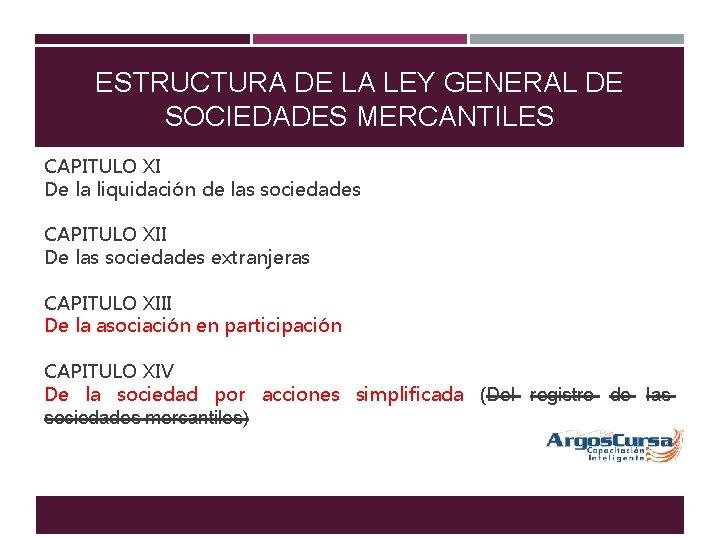 ESTRUCTURA DE LA LEY GENERAL DE SOCIEDADES MERCANTILES CAPITULO XI De la liquidación de