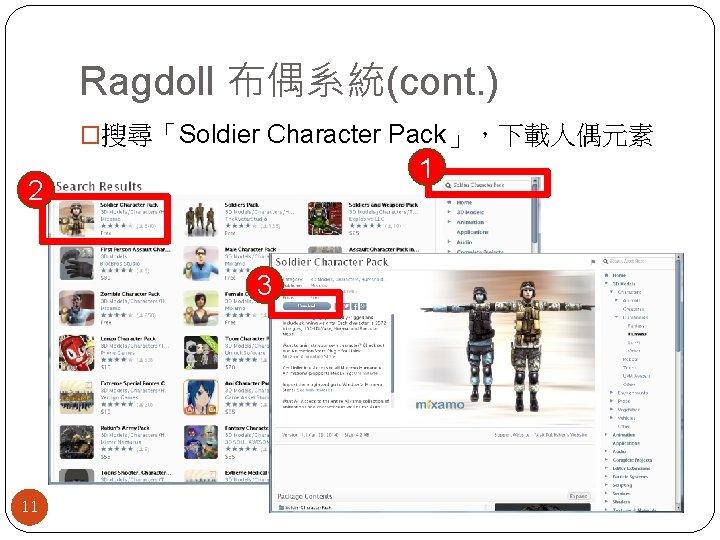 Ragdoll 布偶系統(cont. ) �搜尋「Soldier Character Pack」,下載人偶元素 1 2 3 11