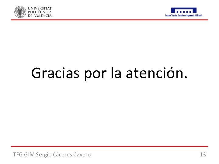 Gracias por la atención. TFG GIM Sergio Cáceres Cavero 13
