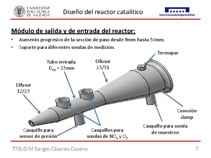 Diseño del reactor catalítico Módulo de salida y de entrada del reactor: • •
