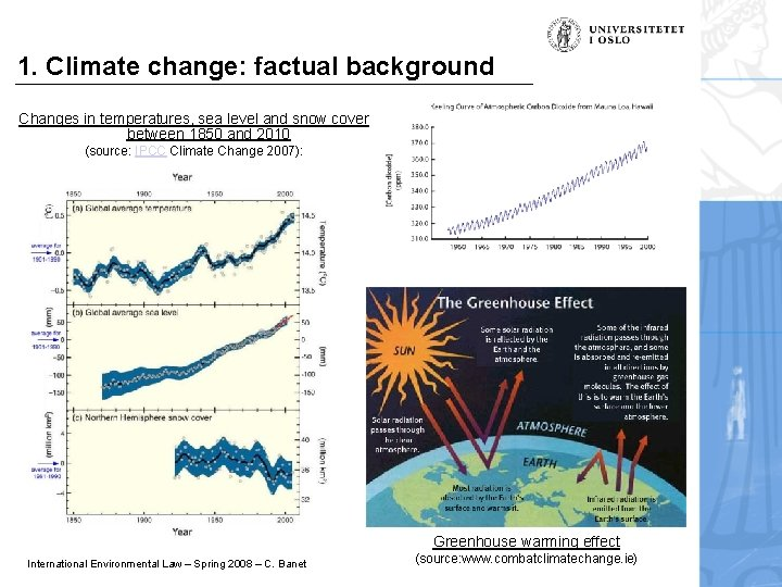 1. Climate change: factual background Changes in temperatures, sea level and snow cover between