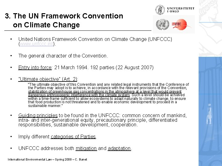 3. The UN Framework Convention on Climate Change • United Nations Framework Convention on